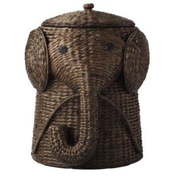 Elephant Wicker Laundry Basket Nursery Toys Home Dark Brown