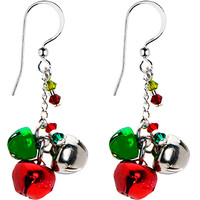 Handcrafted Holiday Jingle Bell Earrings MADE WITH SWAROVSKI ELEMENTS   Body Candy Body Jewelry