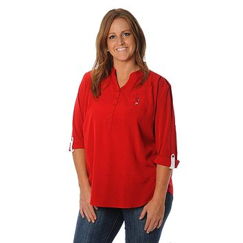 NCAA Louisville Cardinals Womens Plus Size Button Down Tunic Top, 1X, Red/Black