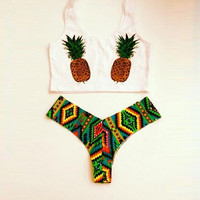 Fruits Pineapple Swimsuit Bikini Set Sports Tank Top Vest Gift