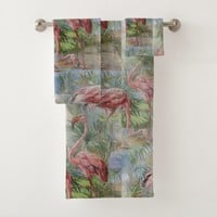 Pink Flamingos Palm Mosaic Towel Set