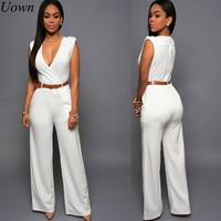 Elegant Women's Summer Solid Jumpsuits Sexy Deep V-Neck Sleeveless Fashion Rompers Side Pocket Long Jumpsuit Playsuit with Belt