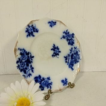 Flow Blue Plate W. H. Grindley Pottery Early China Dinnerware 8 inch Salad Toast Dessert Plate Antique Fine China Blue & White Porcelain