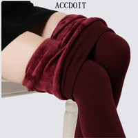 S-XL 8 Colors Women's Warm Pants Fashion High Elasticity And High Waist Trousers Casual Slim Thick Velvet Pants