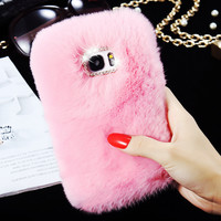 Genuine Rabbit Fur Case For Samsung Galaxy S7 Fluffy Diamond Bling Back Cover Fashion Women Coque Fundas For Samsung Galaxy S7