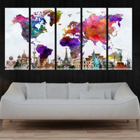 world map canvas print wall art, abstract wall art print, extra large wall art office or home decor for large wall No:9S58