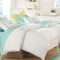 Embroidered Border Duvet Cover + Sham