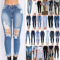 Ripped Jeans for Women - High Waisted