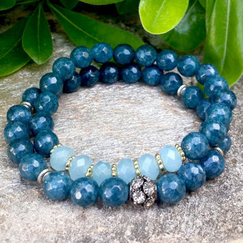Womens Protection Bracelet, Faceted Ocean Blue Jade Gemstone, Boho Chic, Spiritual Healing Energy Mala Yoga Bling Jewelry, FREE SHIPPING