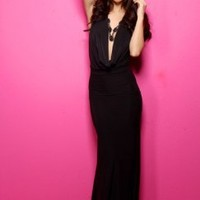 BLACK DEEP PLUNGE HALTER NECKLACE FLARED MAXI DRESS @ Amiclubwear sexy dresses,sexy dress,prom dress,summer dress,spring dress,prom gowns,teens dresses,sexy party wear,women's cocktail dresses,ball dresses,sun dresses,trendy dresses,sweater dresses,teen c