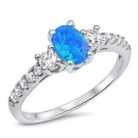 Sterling Silver Oval Blue Opal with CZ Promise Ring Jewelry