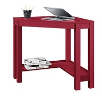 Red Corner Writing Laptop Desk with Drawer - Great for Small Spaces