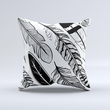 The Vector Black and White Feathers ink-Fuzed Decorative Throw Pillow
