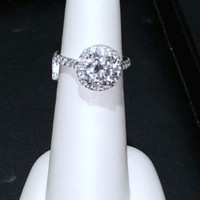 2.90ct G-VS2 Round Diamond Engagement ring Halo JEWELFORME BLUE