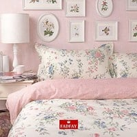 FADFAY Home Textile,Romantic American Country Style Vintage Floral Bedroom Set,Designer Shabby Girls Bedding Set,Modern Flowers Jacquard Bed Cover
