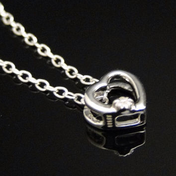 Ladies White Gold Finish Miniature Heart And Chain