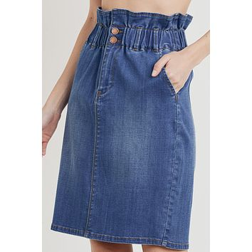 High Waisted Elastic Waist Denim Midi Skirt
