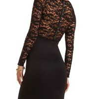 Long Sleeve Studded Lace Dress by Charlotte Russe - Black