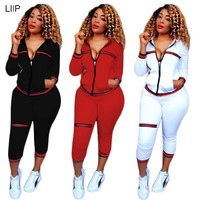 summer 2018 sexy tracksuit women tops and pants set LIIP two piece set top and pants 2 piece outfits for women CM119