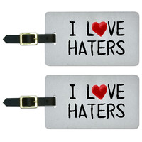 I Love Haters Written on Paper Luggage Tag Set