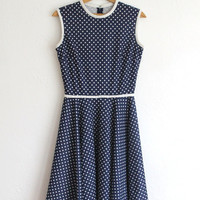 Vintage 60s Navy & White Polka Dot Fitted A Line Dress // Retro Sweet Day Dress
