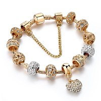 Luxury Crystal Heart Charm Bracelets&Bangles Gold Bracelets For Women Jewellery