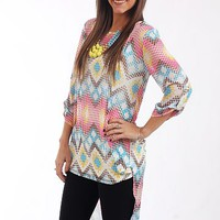Dotted ZigZag Blouse, Pink