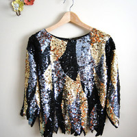 Metallic Bliss - Vintage 80s Black Silver Gold Sequin Scalloped Top