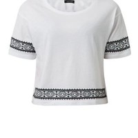White Embroidered Aztec Trim 1/2 Sleeve Top