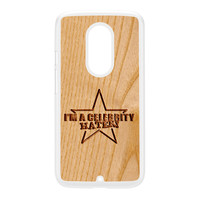 Carved on Wood Effect_Celebrity Hater White Hard Plastic Case for Moto X2 by Chargrilled