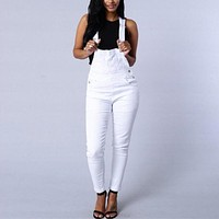 Rompers Womens Jumpsuit 2016 Autumn Sexy Sleeveless Spaghetti Straps Long Playsuits Casual Denim Overalls Long Pants Plus Size