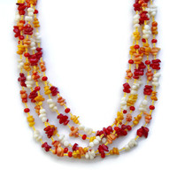 Colorful Red Yellow Orange Coral Necklace, Extra Long Wrap Hippie Necklace, OOAK