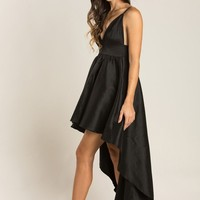 Lilianne Black Taffeta High Low Dress
