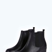 Bella Deep Elastic Cleated Pull On Ankle Boot