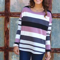 Follow Me Striped Blouse {Mauve}