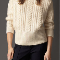 Cable Knit Wool Mohair Blend Sweater