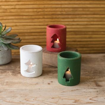 Set of 3 Clay Tree Votive Luminaries