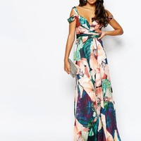 Forever Unique Sweetheart Maxi Dress With Could Shoulder at asos.com