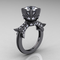 Modern Vintage 14K Gray Gold 3.0 Carat Cubic Zirconia Solitaire Engagement Ring R253-14K GGCZ