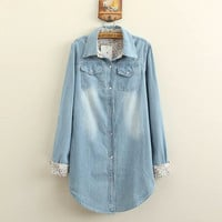 Denim Floral Print Long-Sleeve Button Collar Long Shirt