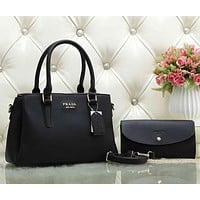 Prada Women Fashion Leather Tote Shoulder Bag Satchel Set Two Piece