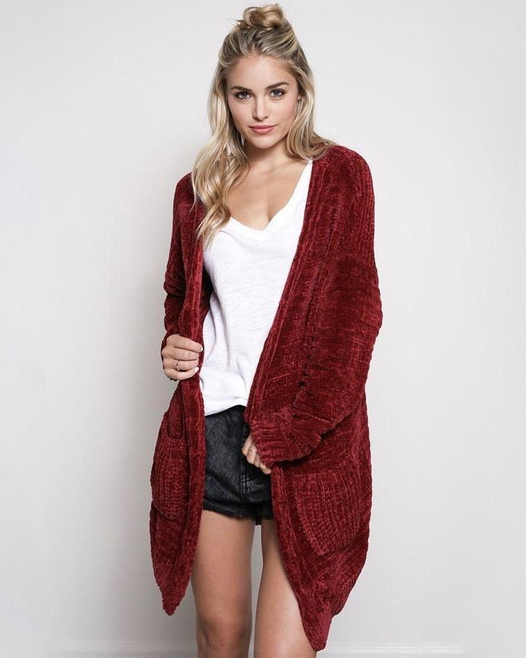 Image of Textured Knit Shawl Cardigan in Burgundy