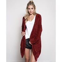 Textured Knit Shawl Cardigan in Burgundy