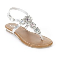 Candie's Grey Embellished Thong Sandals - Girls