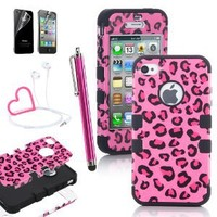 Pandamimi ULAK Stylwire(TM) Pink Heart Stereo Headphones + iPhone 4 4S Hard Hybrid Case Cover Rubberize Pink / Black Leopard Silicone TUFF +