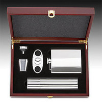 5 Piece Flask and Cigar Gift Set