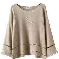 Fringed Sleeve Knitted Pullover