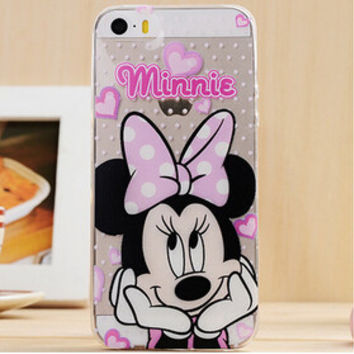 Cute Pink Minnie Mouse Disney Cartoon TPU Transparent Soft Phone Back Case Shell Cover for iPhone 5 5S SE