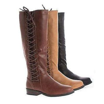 Pilot17 By Bamboo, Knee High Corset Lace Faux Wooden Heel Riding Boots