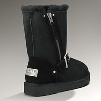 UGG Fashion Women Fur Zipper Wool Snow Boots Half Boots Shoes